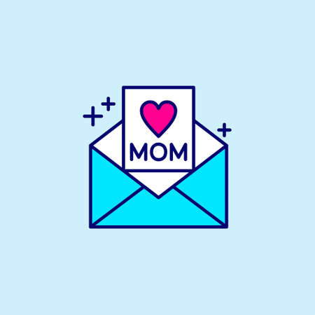 Mothers day blue and pink color icon on light blue background vector. For web design and application interface, also useful for infographics. Vector illustration.