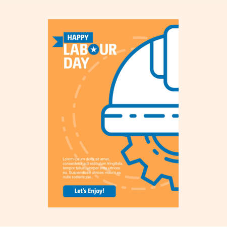Happy Labour day design with vintage theme blue and orange with halmet logo. For web design and application interface, also useful for infographics. Vector illustration.