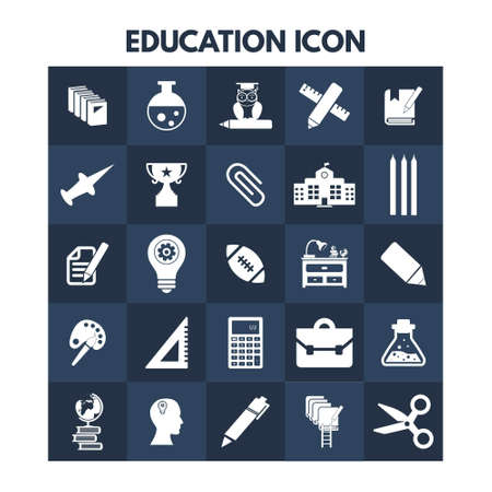 Education Icons on blue boxes. For web design and application interface, also useful for infographics. Vector illustration.