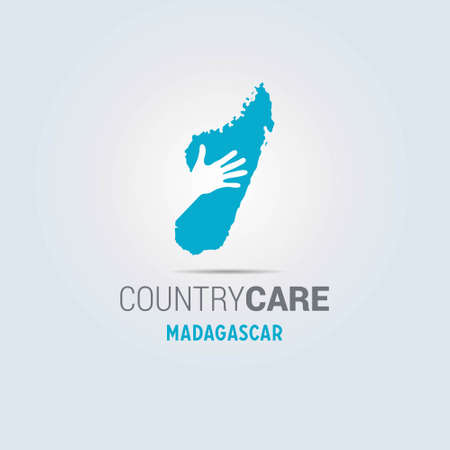 Illustration of an isolated hands offering sign with the map of Madagascar. For web design and application interface, also useful for infographics. Vector illustration.