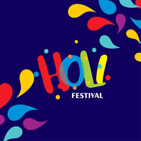happy holi festival. holi color drops with creative typography on blue background. For web design and application interface, also useful for infographics. Vector illustration.