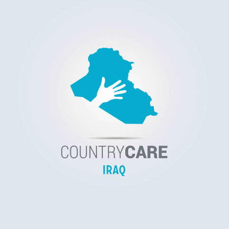 Illustration of an isolated hands offering sign with the map of Iraq. For web design and application interface, also useful for infographics. Vector illustration. 向量圖像