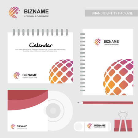 Company stationary items with logo and slogan vector with world map logo. For web design and application interface, also useful for infographics. Vector illustration.