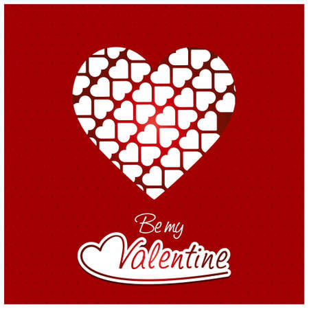 Be my vlaentine with red pattern background. For web design and application interface, also useful for infographics. Vector illustration.