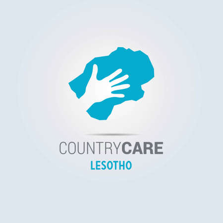 Illustration of an isolated hands offering sign with the map of Lesotho. For web design and application interface, also useful for infographics. Vector illustration. Çizim