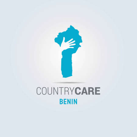 Illustration of an isolated hands offering sign with the map of Benin. For web design and application interface, also useful for infographics. Vector illustration. 向量圖像