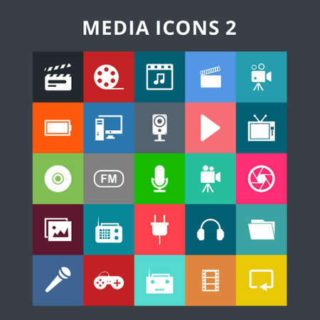 Media Icons. For web design and application interface, also useful for infographics. Vector illustration.