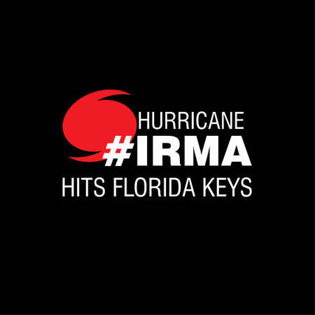 Hurricane Irma Hits Florida Keys. Hurricane indication. Graphic banner of hurricane warning. Icon, sign, symbol, indication of the hurricane, vortex, tornado. For web design and application interface, also useful for infographics. Vector illustration.