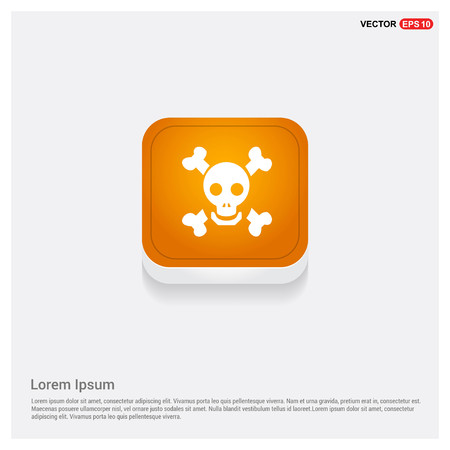 Halloween Skull icon Orange Abstract Web Button - Free vector icon
