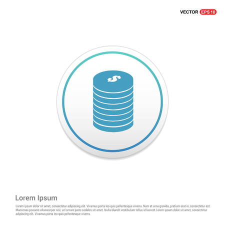 Dollar coins stack con Hexa White Background icon template - Free vector icon