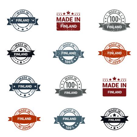 Finland stamp design set vector
