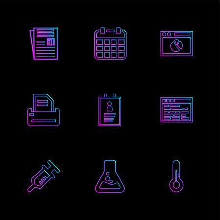 file , calender ,web , printer , profile , web , syringe , flask , thermometer, icon, icons, set, line, vector, business, sign, symbol, outline, Illustration