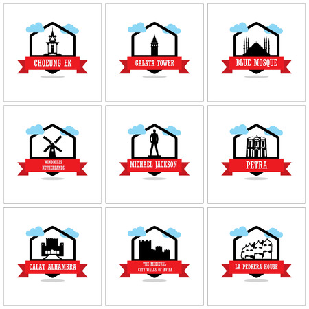 Worlds Famous monuments and landmarks icons set vector Stock Illustratie