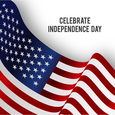 American Independence day design card vector Çizim