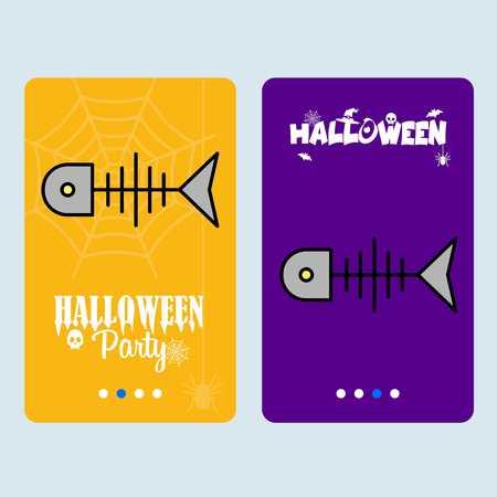 Happy Halloween invitation design with fish skull vector Illustration