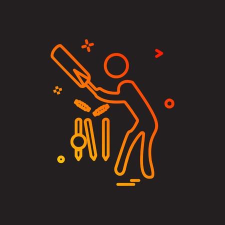 クリケットアイコンデザインベクトル