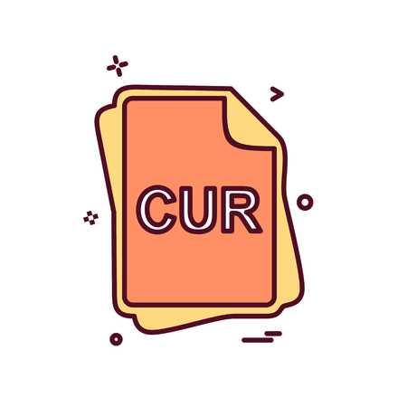 CUR file type icon design vector