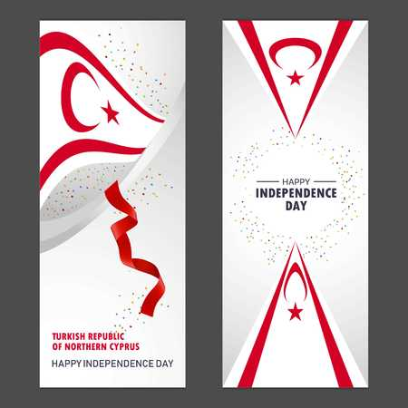 Northern Cyprus Happy independence day Confetti Celebration Background Vertical Banner set