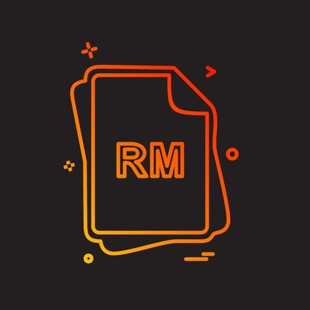 RM file type icon design vector Vektoros illusztráció