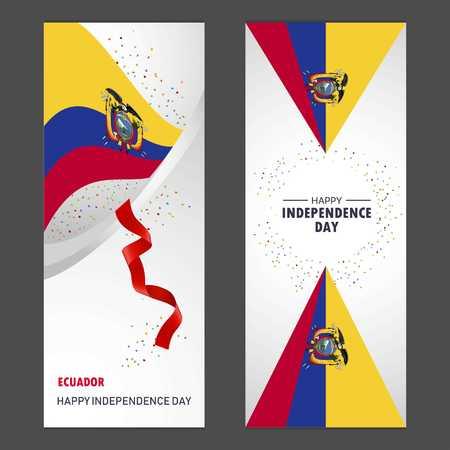 Ecuador Happy independence day Confetti Celebration Background Vertical Banner set
