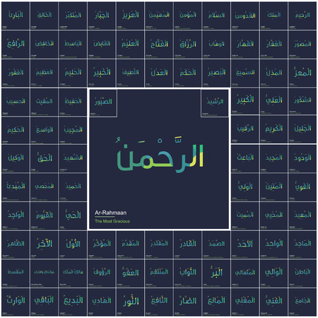 Ninty nine names of Allah typography