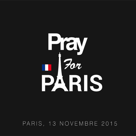 Pray for Paris typography with creative design vector
