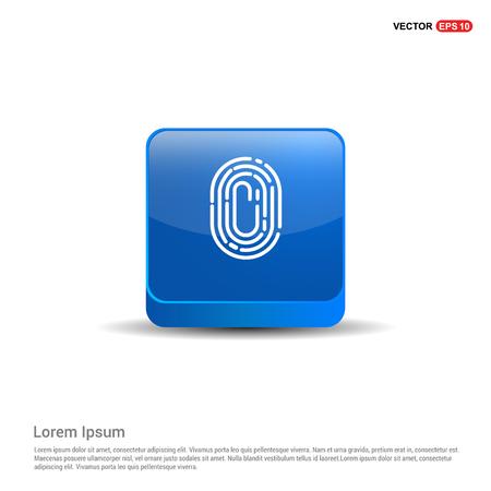 Fingerprint App icon - 3d Blue Button. Ilustracja