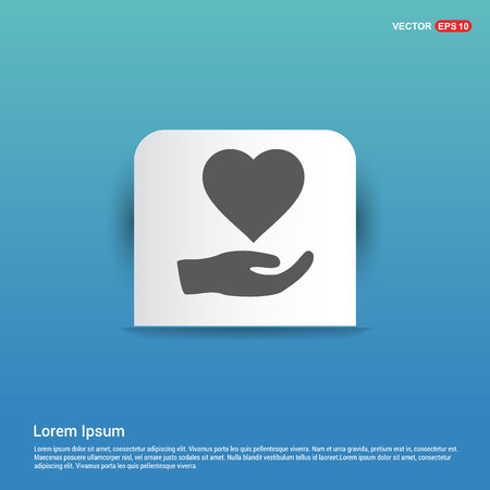 Heart in hand icon - Blue Sticker button