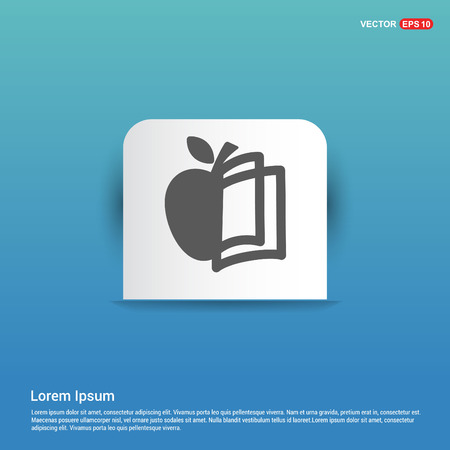 Book and apple icon - Blue Sticker button Illustration
