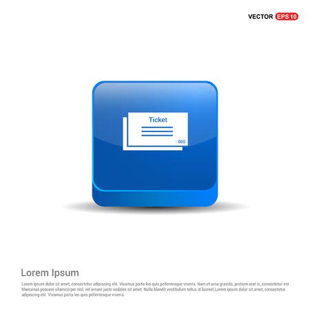 Ticket Icon - 3d Blue Button.