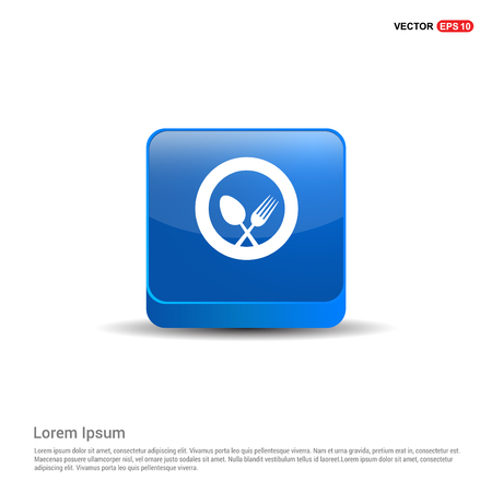 Spoon and fork icon - 3d Blue Button.