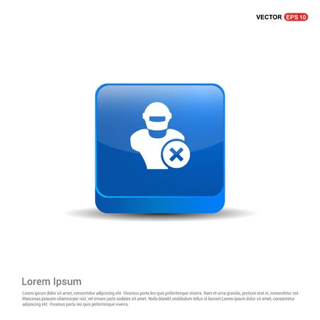 Hacker Icon - 3d Blue Button. Illustration