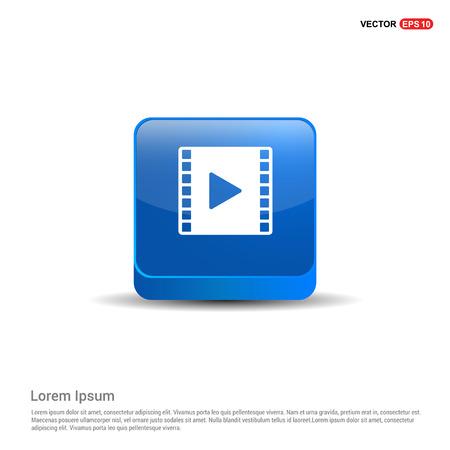Clapper board icon - 3d Blue Button. Ilustração