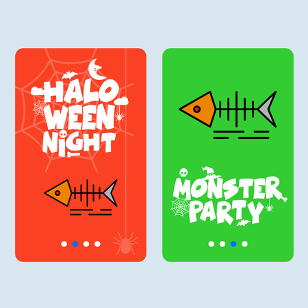 Happy Halloween invitation design with fish skull vector Illustration