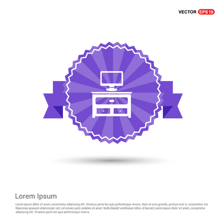 Computer Table Icon - Purple Ribbon banner Illustration