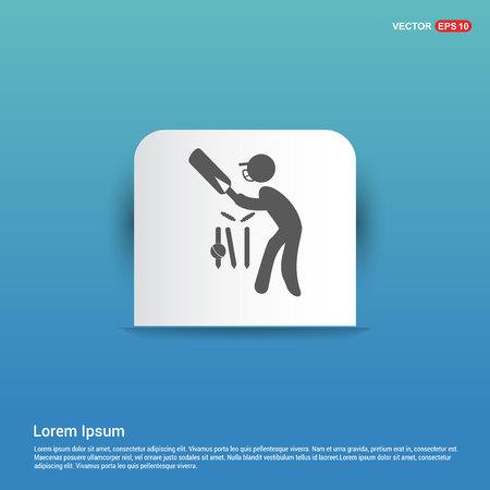 Batsman Icon - Blue Sticker button