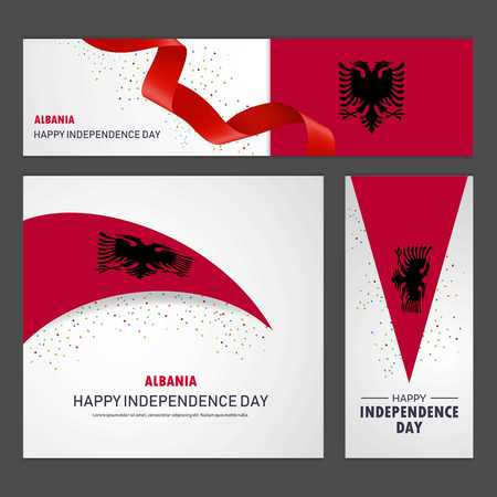 Happy Albania independence day Banner and Background Set