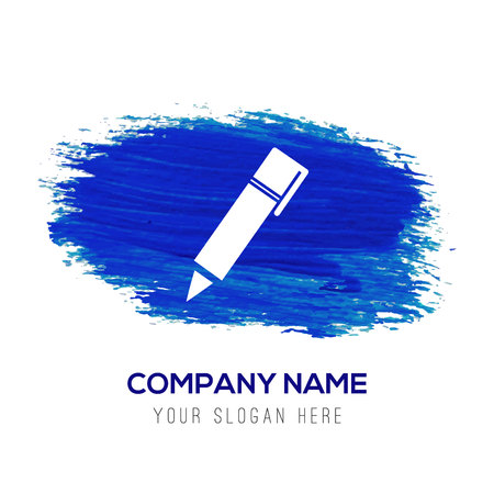 Writing pen icon - Blue watercolor background