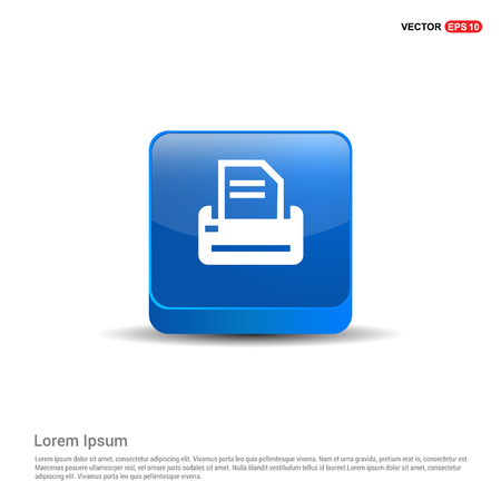 Printer Icon - 3d Blue Button.