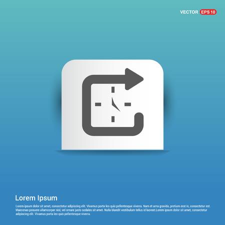 Clock Icon - Blue Sticker button Vectores