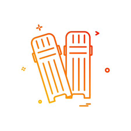 Cricket pads protection safety icon vector design