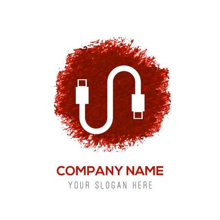 USB Cable Icon - Red WaterColor Circle Splash 向量圖像