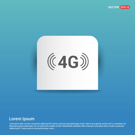 4G connection icon - Blue Sticker button
