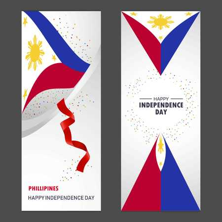Phillipines Happy independence day Confetti Celebration Background Vertical Banner set