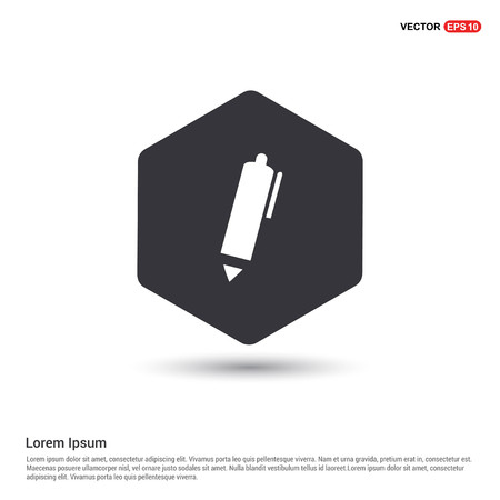 Writing pen icon Hexa White Background icon template - Free vector icon
