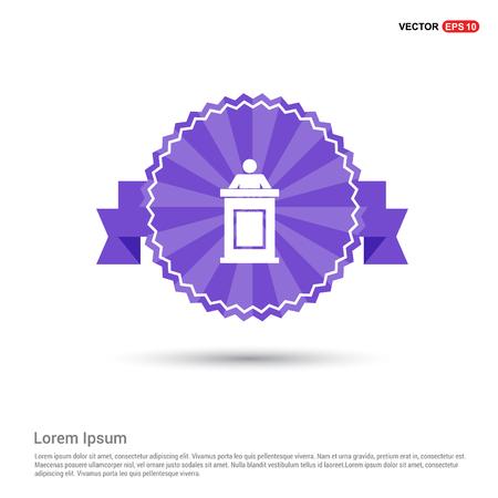 Speaker at rostrum icon - Purple Ribbon banner