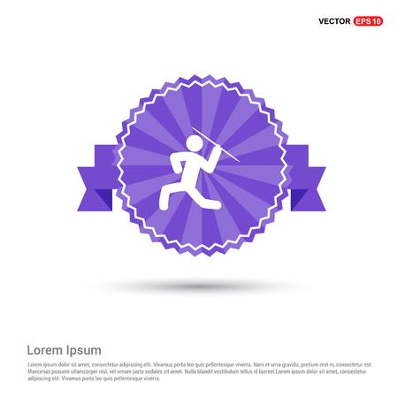 Javelin Throw Icon - Purple Ribbon banner Foto de archivo - 109725618