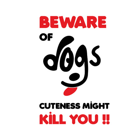 Beware of dogs typographic design vector with light background Banque d'images - 108915069