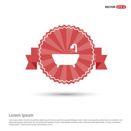 Bath Tub Icon - Red Ribbon banner