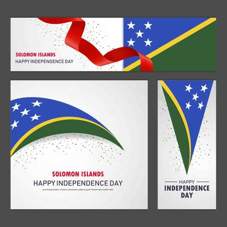 Happy Solomon Islands independence day Banner and Background Set